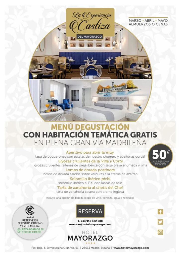 Oferta menu mas habitacion en hotel Mayoral