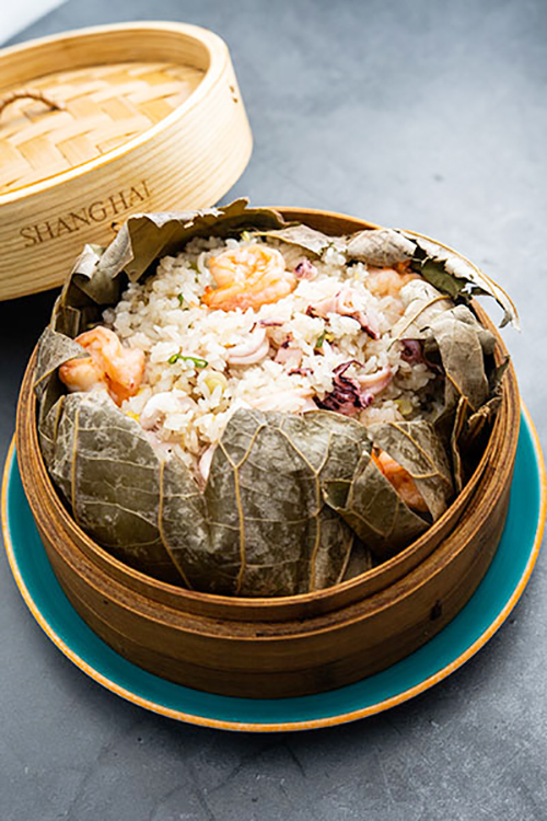 Papillote de arroz y marisco de Shang Hai Station de Madrid